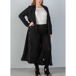 JED Women's Plus Size Long Sleeve Black Maxi Blazer Cardigan
