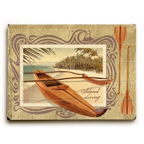 Hawaiian Outrigger - Planked Wood Wall Decor by Lynne Ruttkay