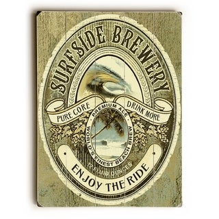 Surfside Brewery -  Planked Wood Wall Decor by  Lynne Ruttkay