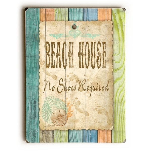 Beach House - Planked Wood Wall Decor by Jean Plout