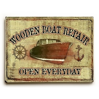Wooden Boat Repair -   Planked Wood Wall Decor by Lynne Ruttkay