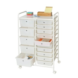 Seville Classics 15-Drawer Organizer Cart, Pearlized White