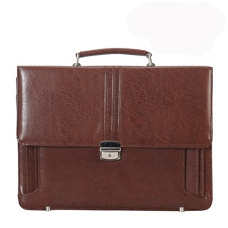 Diophy PU Leather Mens Easy Match Push Lock Briefcase