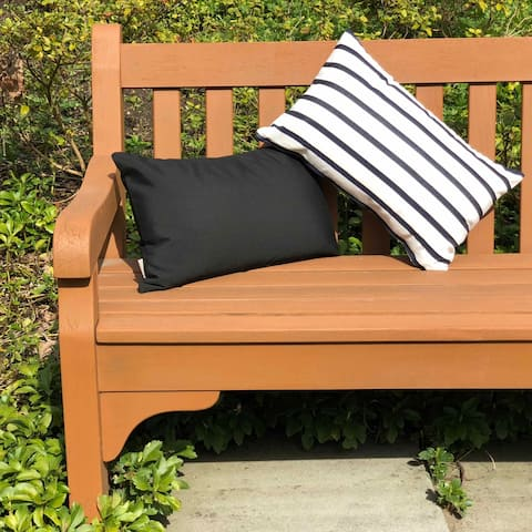 Pillow Decor - Sunbrella Lido Indigo Stripes 12x20 Outdoor Pillow