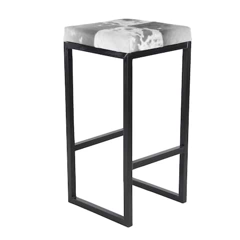 Traditional 24 Inch Iron and Leather Hide Bar Stool by Studio 350