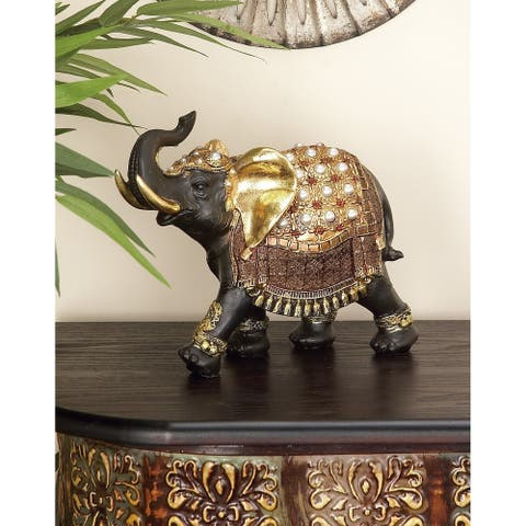 The Curated Nomad Merced Gold Polystone Elephant Figurine