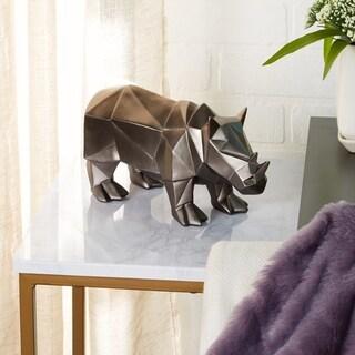 "Large Modern Style Metallic Silver Rhino Statue Table Décor 10"" x 6"""