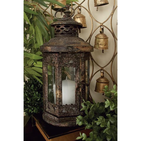 The Curated Nomad Lotta Metal and Glass Lantern