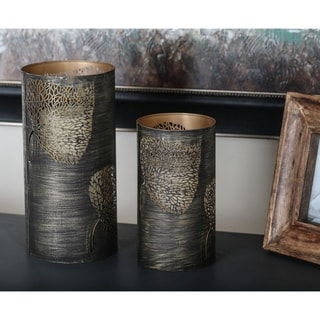 Link to The Curated Nomad Lotta Leaf Distressed Bronze Iron Candle Holders (Set of 3) Similar Items in Decorative Accessories