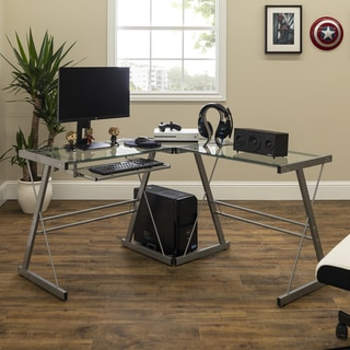 Porch & Den Hardy Glass and Silver Metal 51-inch L-shaped Corner Computer Desk