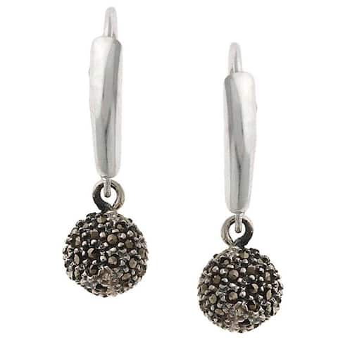 Glitzy Rocks Sterling Silver Marcasite Ball Leverback Earrings