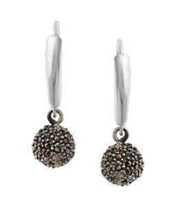 Glitzy Rocks Sterling Silver Marcasite Ball Leverback Earrings