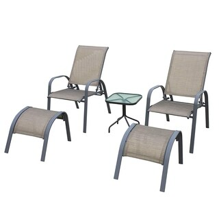 NatureFun 5 Piece Outdoor Sling Bistro Set, Patio Garden Coffee Set