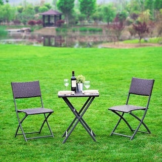 Naturefun Outdoor 3 Pcs Resin Rattan Foldable Bistro Furniture Sets