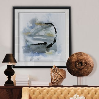 Cool Water I -Custom Framed Print - blue, white, grey, yellow, green, silver, gold
