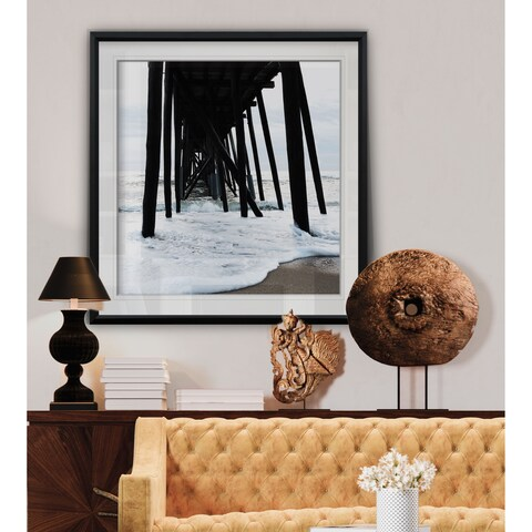 Belmar Pier II -Custom Framed Print - blue, white, grey, yellow, green, silver, gold