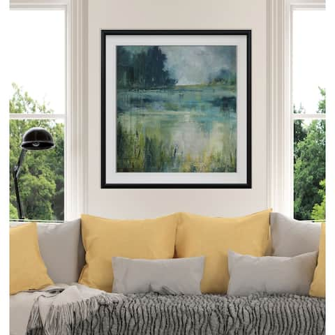 Reflections Edge -Custom Framed Print - blue, white, grey, yellow, green, silver, gold