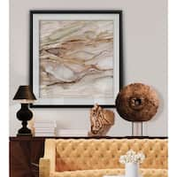 Graceful Marble I -Custom Framed Print - blue, white, grey, yellow, green, silver, gold