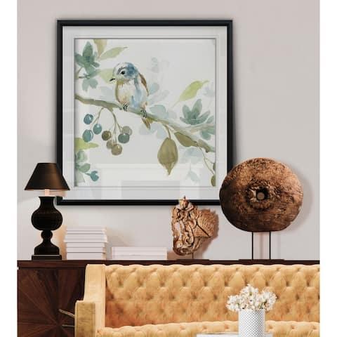 Spring Melody II -Custom Framed Print - blue, white, grey, yellow, green, silver, gold