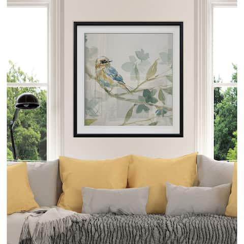 Spring Melody I -Custom Framed Print - blue, white, grey, yellow, green, silver, gold