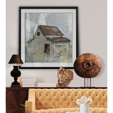 Barn at Midday -Custom Framed Print - blue, white, grey, yellow, green, silver, gold