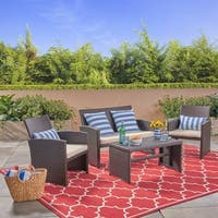 Bayside Outdoor 4-Seater Wicker Chat Set with Coffee Table by Christopher Knight Home