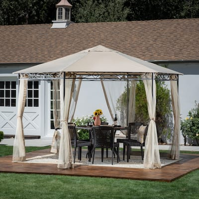 """Duke Outdoor 10' 5"""" by 10' 5"""" Water Resistant Fabric and Steel Gazebo by Christopher Knight Home"""