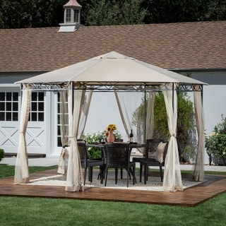 "Duke Outdoor 10' 5"" by 10' 5"" Water Resistant Fabric and Steel Gazebo by Christopher Knight Home"