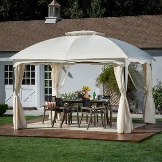 Gravina Outdoor 12u0027 By 10u0027 Water Resistant Fabric And Steel Gazebo By  Christopher Knight
