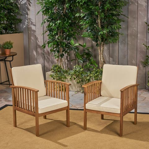 Casa Acacia Outdoor Acacia Wood Club Chairs(Set of 2) by Christopher Knight Home