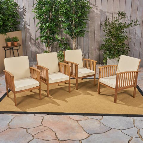 Casa Acacia Outdoor Acacia Wood Club Chairs(Set of 4) by Christopher Knight Home