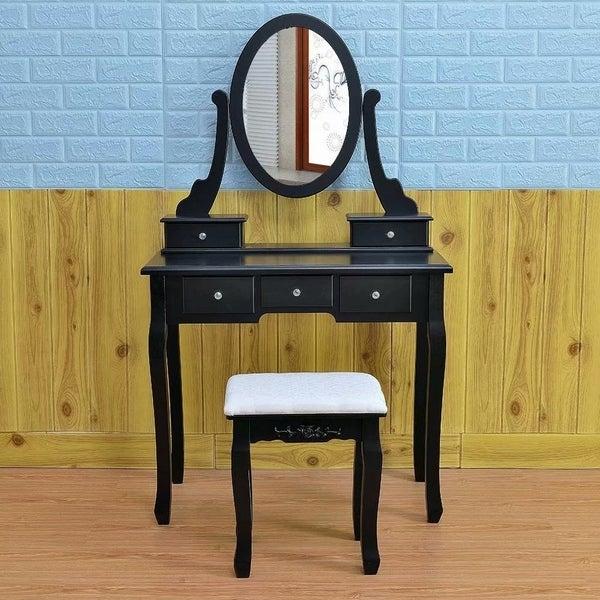 360 Rotation Single Mirror 5 Drawers Dressing Table Black