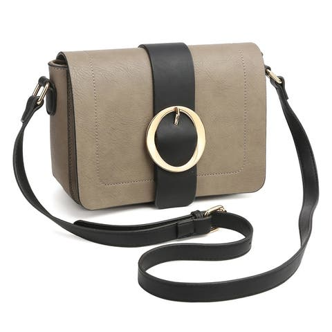 Dasein Round Buckle Detailed Front Flap Cross Body Bag