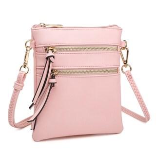Dasein Soft Faux Leather Tri-zipped Messenger Bag/ Crossbody
