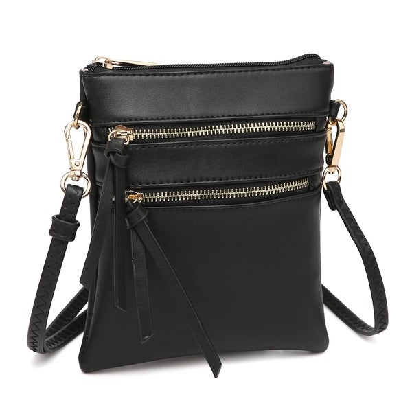 Shop Dasein Soft Faux Leather Tri-zipped Messenger Bag  Crossbody ... 4bf14c79d1