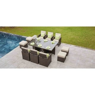 CUBO 11-piece Outdoor Patio Wicker Dining Table Set with Chair and Footstools