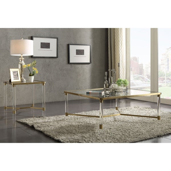 ACME Penstemon End Table in Clear Acrylic, Gold Stainless Steel and Clear Glass