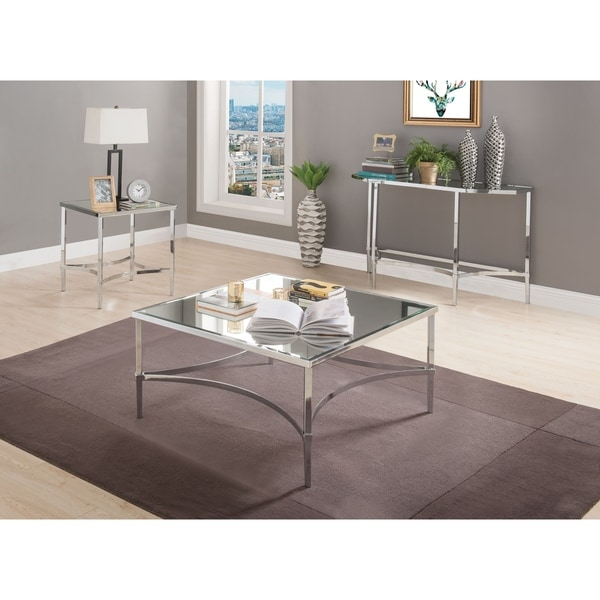 ACME Petunia Coffee Table in Chrome and Mirrored