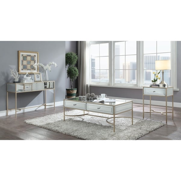 Shop ACME Wisteria Coffee Table In Mirrored And Rose Gold