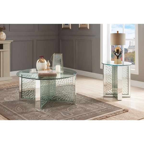 Shop ACME Nysa Round Mirrored Faux Crystal Glass Coffee