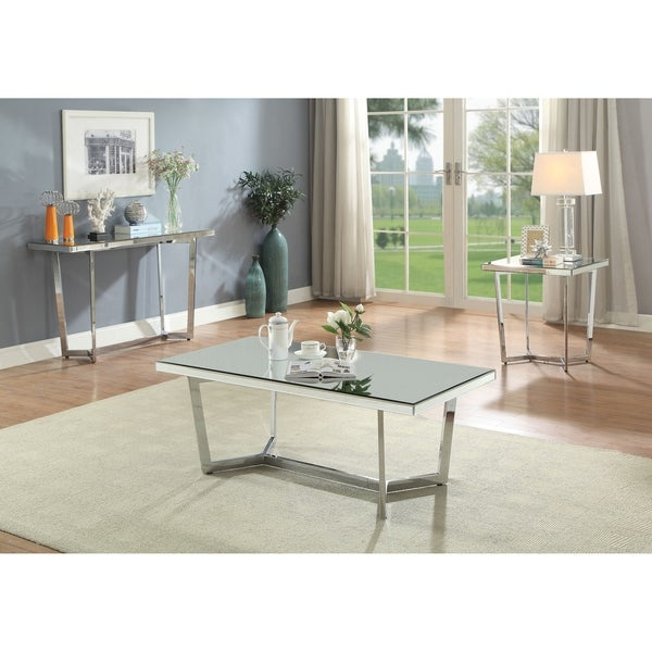 ACME Hastin Coffee Table in Mirrored and Chrome