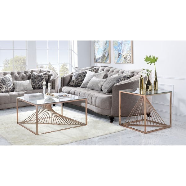 ACME Tralen End Table in Brushed Copper and Clear Glass