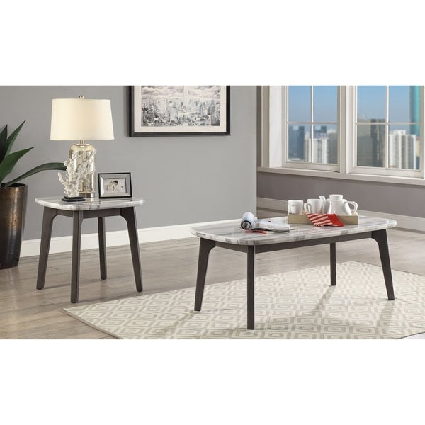 Oak And Stone Coffee Table: Shop ACME Calvisia Marble And Grey Oak Finish Coffee Table