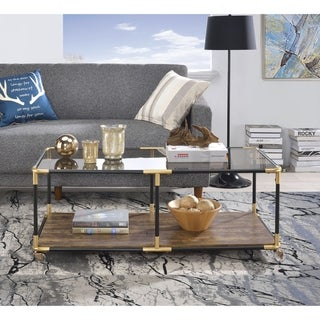 ACME Heleris Coffee Table in Black, Gold and Smoky Glass