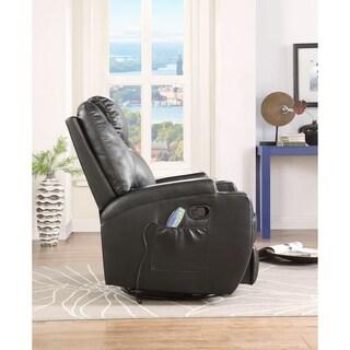 ACME Waterlily Swivel Rocker Recliner with Massage in Black