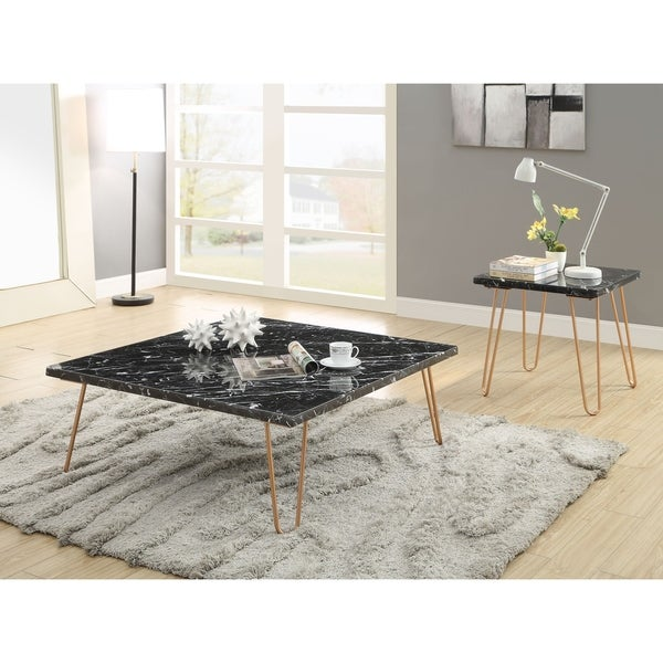 ACME Telestis End Table in Marble and Gold