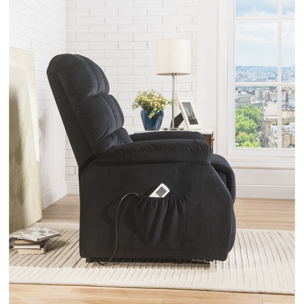 ACME Ipompea Recliner with Power Lift and Massage in Black Velvet