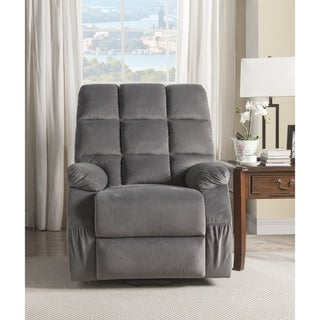 ACME Ipompea Recliner with Power Lift and Massage in Gray Velvet