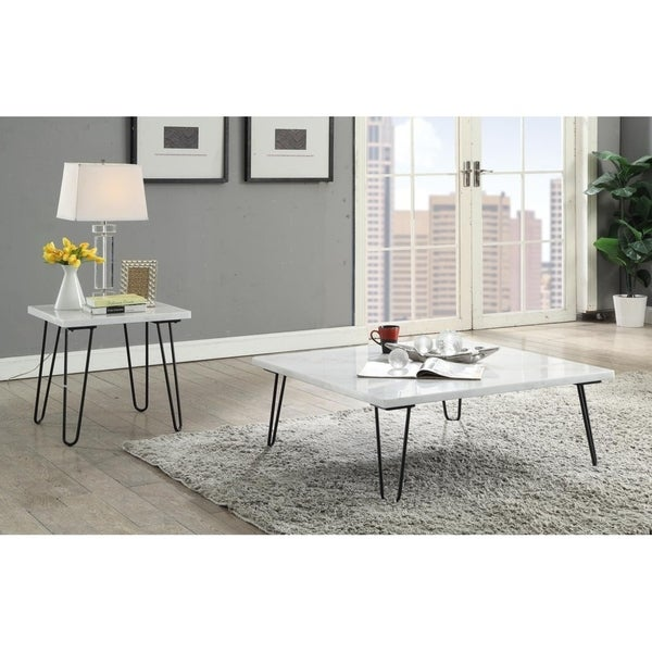 Shop Acme Telestis Coffee Table In Marble And Black Free