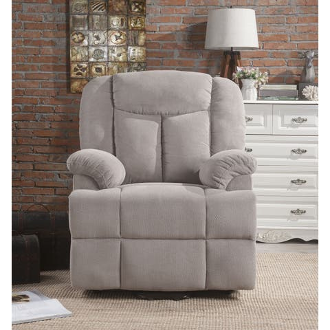 ACME Ixia Recliner with Power Lift and Massage in Light Gray Fabric